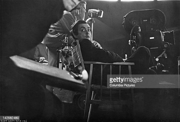 American director and screenwriter Stanley Kubrick on the set of his film 'Dr Strangelove or How I Learned to Stop Worrying and Love the Bomb' at...