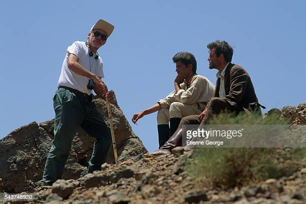 American director Bob Swaim directing actors Christopher Thompson and Tcheky Karyo on the set of his film 'L'Atlantide' based on French writer Pierre...