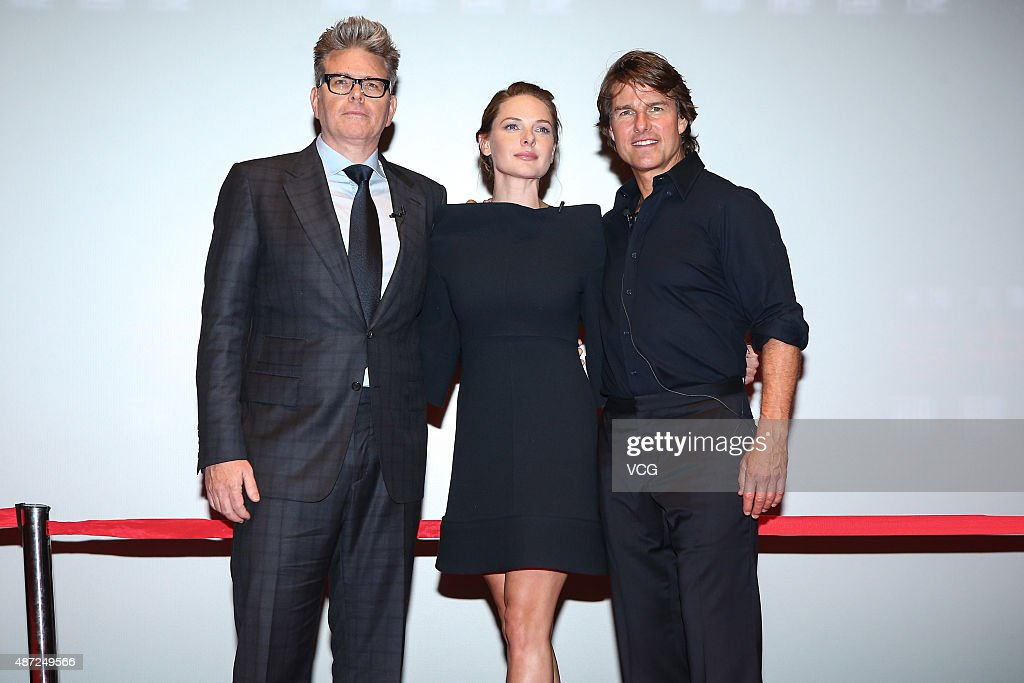 American director <a gi-track='captionPersonalityLinkClicked' href=/galleries/search?phrase=Christopher+McQuarrie&family=editorial&specificpeople=2784110 ng-click='$event.stopPropagation()'>Christopher McQuarrie</a> (L), actor <a gi-track='captionPersonalityLinkClicked' href=/galleries/search?phrase=Tom+Cruise&family=editorial&specificpeople=156405 ng-click='$event.stopPropagation()'>Tom Cruise</a> and Swedish actress <a gi-track='captionPersonalityLinkClicked' href=/galleries/search?phrase=Rebecca+Ferguson+-+Actress&family=editorial&specificpeople=12319575 ng-click='$event.stopPropagation()'>Rebecca Ferguson</a> attend 'Mission: Impossible - Rogue Nation' premiere on September 7, 2015 in Beijing, China.