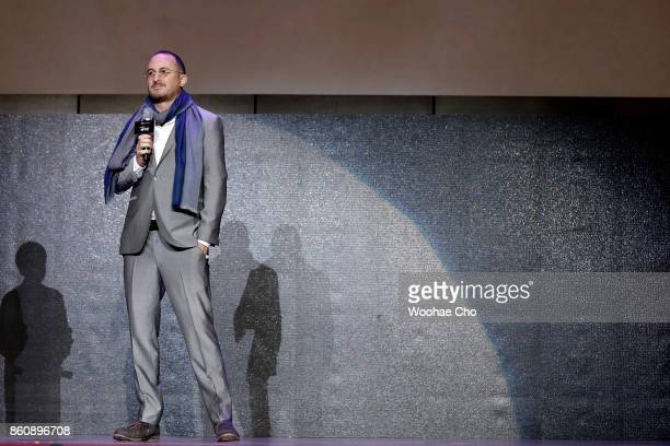 American director Darren Aronofsky attends the official screening of 'mother' during the Busan International Film Festival on October 13 2017 in...