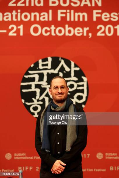 American director Darren Aronofsky pauses to the cameras at the official press conference for 'mother' during the Busan International Film Festival...