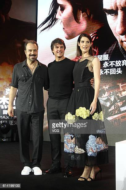 American director Edward Zwick American actor Tom Cruise and Canadian actress Cobie Smulders attend the press conference of film 'Jack Reacher Never...
