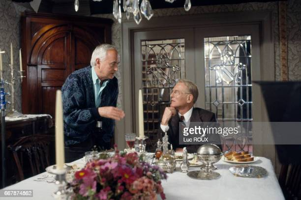 American director James Ivory and American actor Paul Newman on the set of Ivory's film Mr Mrs Bridge