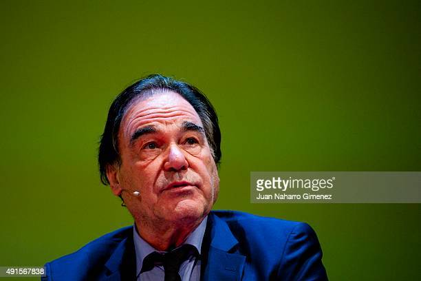 American director Oliver Stone attends the World of Business Ideas at Royal Theater on October 6 2015 in Madrid Spain