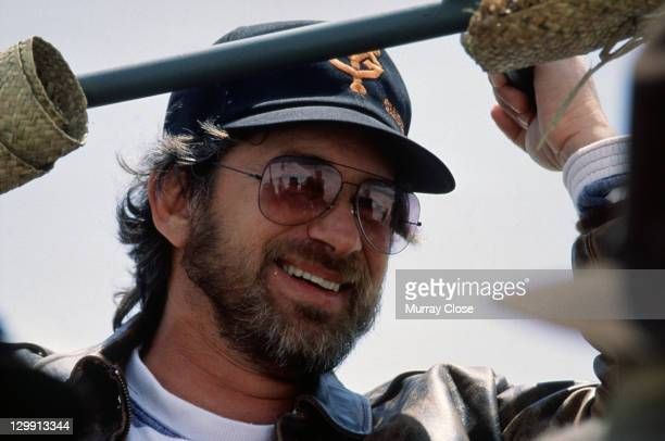 American director Steven Spielberg on the set of his film 'Empire of the Sun' 1987