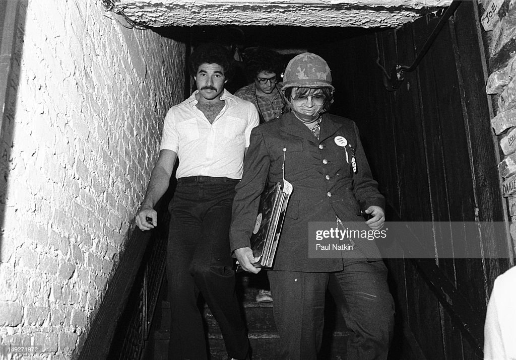 American disc jockey Steve Dahl walks down a staircase during an antidisco promotion at Comiskey Park Chicago Illinois July 12 1979 The event hosted...