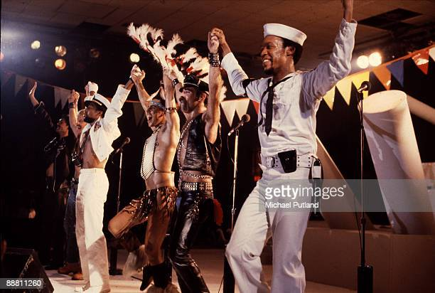American disco group Village People performing in Florida March 1979 Left to right Randy Jones David Hodo Victor Willis Felipe Rose Glenn Hughes and...