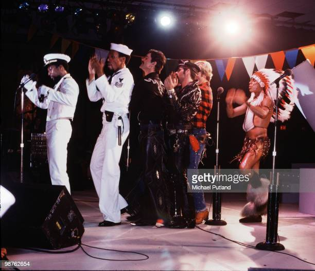 American disco group Village People performing in Florida March 1979 Left to right Victor Willis Alex Briley Randy Jones Glenn Hughes David Hodo and...