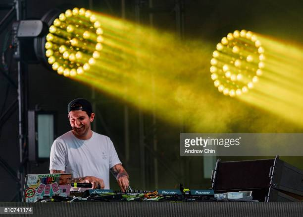 American DJ Dillon Francis performs on stage during FVDED In The Park at Holland Park on July 7 2017 in Surrey Canada