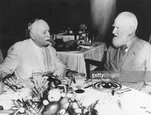 American doctor John Harvey Kellogg in conversation with Irish writer George Bernard Shaw Miami 7th February 1936 Kellogg is expounding on the...