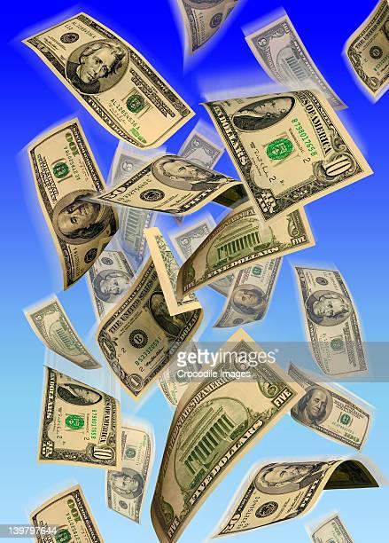 American Dollar notes raining