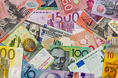 American dollars, European euro, Swiss franc, Canadian dollar, australian dollar  bills