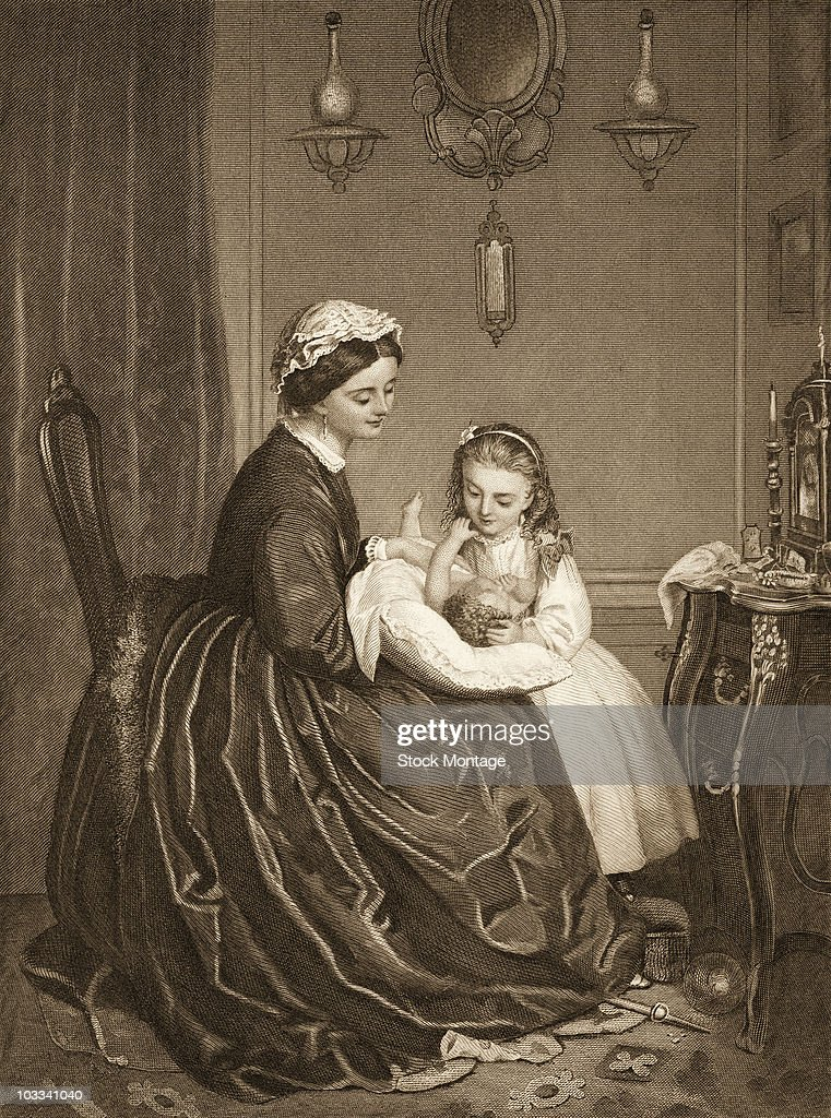 American domestic interior scene depicing a mother and her children 1872 Originally titled 'Happy Times' it shows a mother with a baby on her lap and...