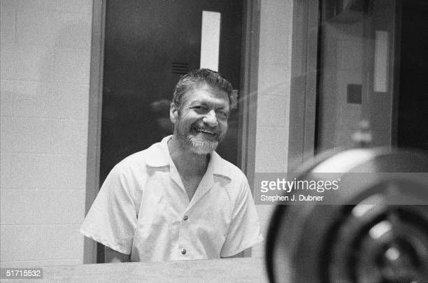 **EXCLUSIVE** American domestic terrorist luddite and mathematics teacher Ted Kaczynski laughs during an interview in a visiting room at the Federal...