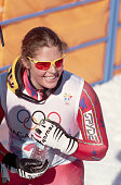 American downhill skier Picabo Street after she finishes the SuperG event at the 1998 Winter Olympic games