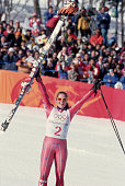 American downhill skier Picabo Street wins the gold medal in the SuperG event at the 1998 Winter Olympic games