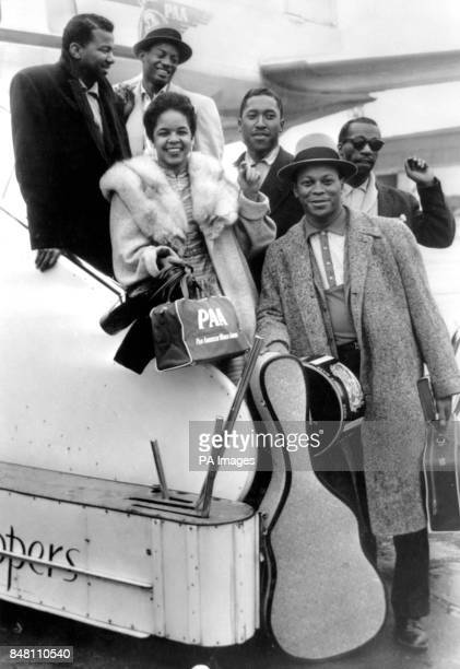 American DoWop outfit The Platters arrive at London Airport From top left David Lynch Paul Robi Zola Taylor Alex Hodge Tony Williams and Herb Reed