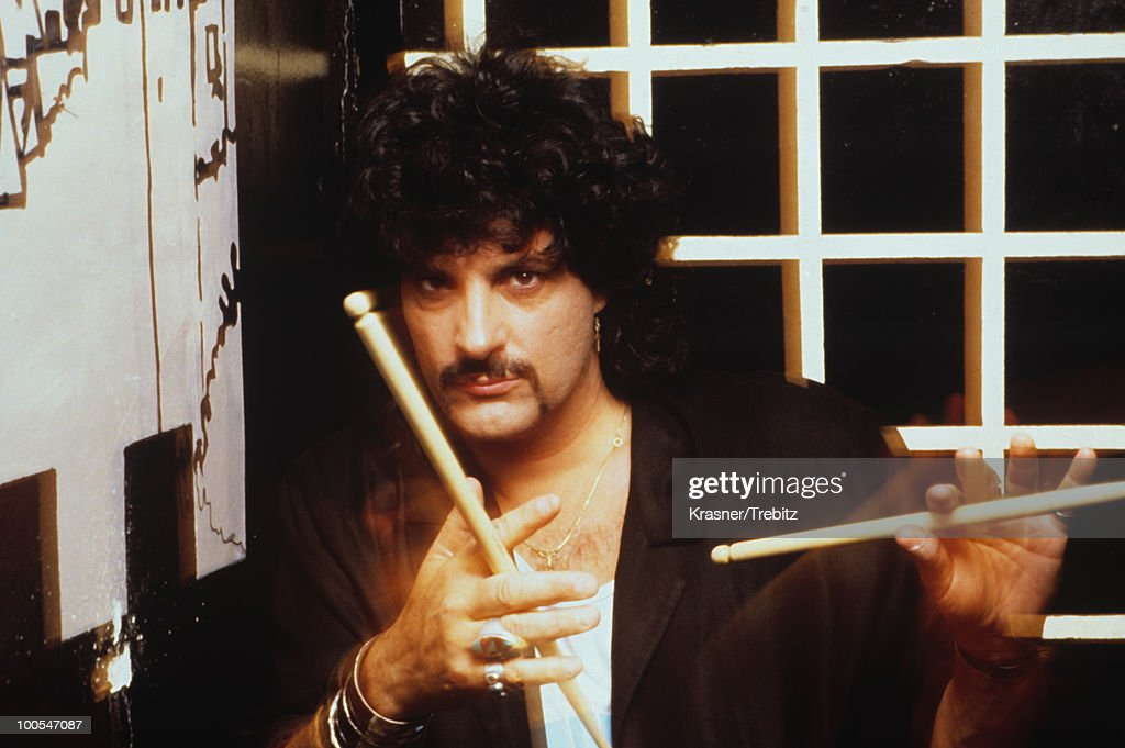 American drummer Carmine Appice of Blue Murder poses in New York City in 1989.