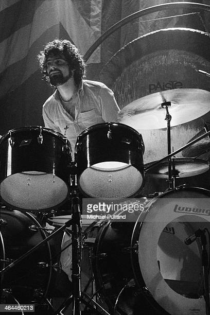 American drummer Carmine Appice performing with hard rock supergroup Beck Bogert Appice at the Rainbow Theatre London 16th January 1974