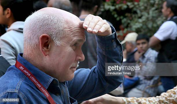 American editorial photographer Steve McCurry on the fourth day at Jaipur Literary Festival 2016 at Diggi Palace on January 24 2016 in Jaipur India...