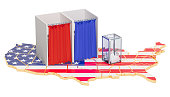 American election concept, ballot box with voting booths on map of the USA. 3D rendering isolated on white background
