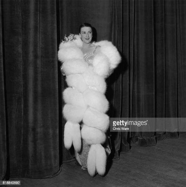 American entertainer Gypsy Rose Lee begins her act in white fox fur Bristol UK 1951