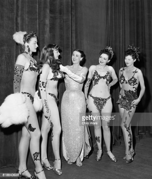 American entertainer Gypsy Rose Lee with Sherry Clark Charlotte Foley June Fraser and Anita Arden who appear on her act Bristol UK 1951