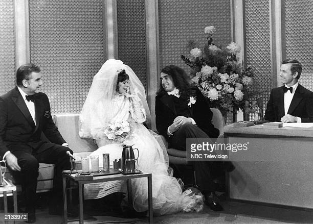 American entertainer Tiny Tim and his bride Miss Vicki Budinger are married on 'The Tonight Show' with hosts Johnny Carson and Ed McMahon 1969