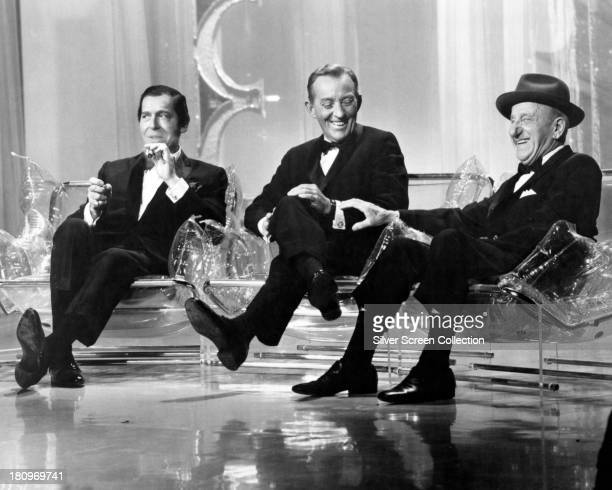 American entertainers comedian Milton Berle singer and actor Bing Crosby and comedian and actor Jimmy Durante on the 'Hollywood Palace' US TV variety...