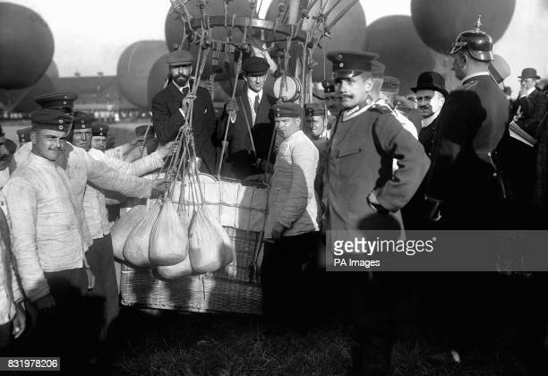 American entrants A Holland Forbes and Augustus Post in 'The Conqueror' before the start of the Gordon Bennett Balloon Race in Berlin Germany