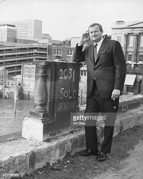 American entrepreneur Robert P McCaulloch standing on London Bridge as it is dismantled ready for transportation back to America London April 18th...