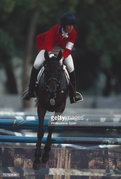 American equestrian Jil Walton of the United States team pictured on her horse Patrona during competition to finish in 17th place in the Mixed...