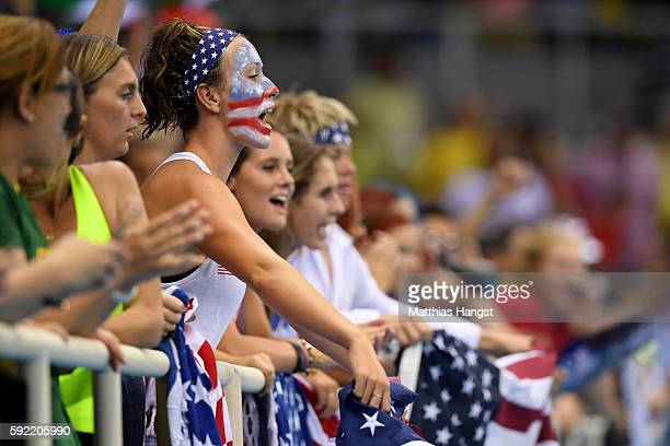 American fans show their support before the Women's Water Polo Gold Medal Classification match between the United States and Italy on Day 14 of the...