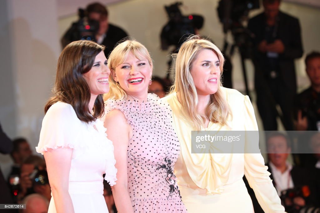 American fashion designer Laura Mulleavy, American actress Kirsten Dunst and American fashion designer Kate Mulleavy arrive at the red carpet of film 'Woodshock' screening during the 74th Venice Film Festival at Sala Giardino on September 4, 2017 in Venice, Italy.