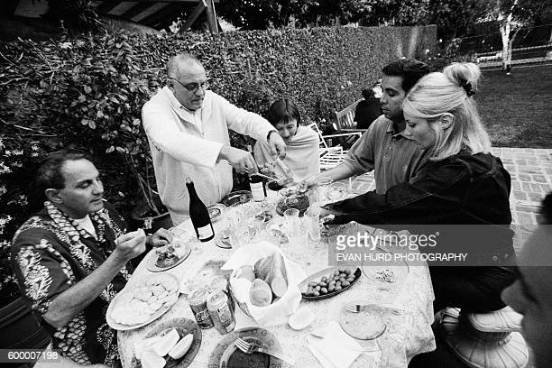 American fashion designer Max Azria at home with family