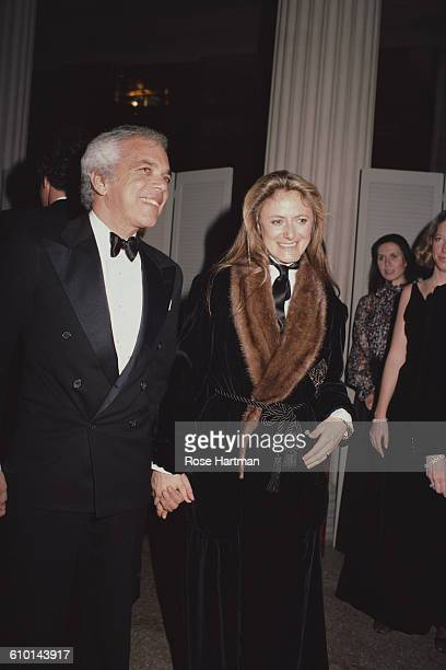 American fashion designer Ralph Lauren and his wife Ricky at a Metropolitan Museum gala New York City 1984