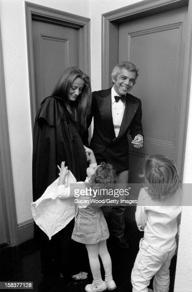 American fashion designer Ralph Lauren and his wife therapist Ricky Lauren dressed for a night out laugh with two of with their three children New...