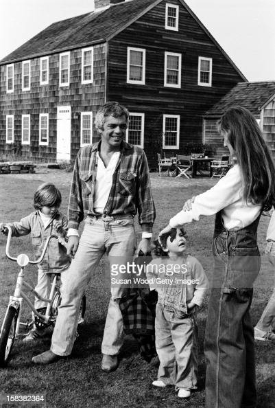 American fashion designer Ralph Lauren and his wife therapist Ricky Lauren outside their home with two of their three children East Hampton New York...