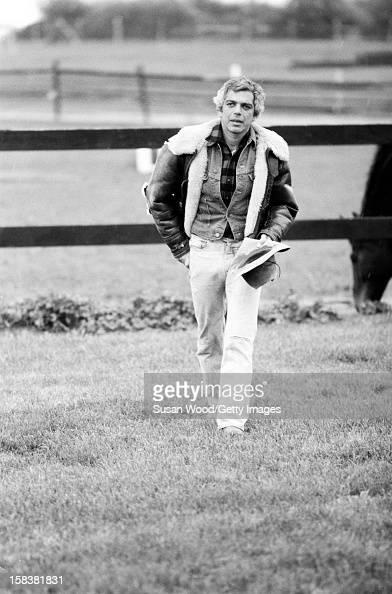 American fashion designer Ralph Lauren walks near his home East Hampton in November 1977