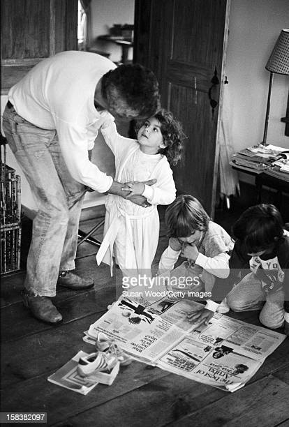 American fashion designer Ralph Lauren with his three children in their home East Hampton New York November 1977