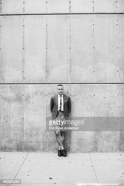 American fashion designer Thom Browne is photographed for Gotham Magazine on August 8 2014 in New York City
