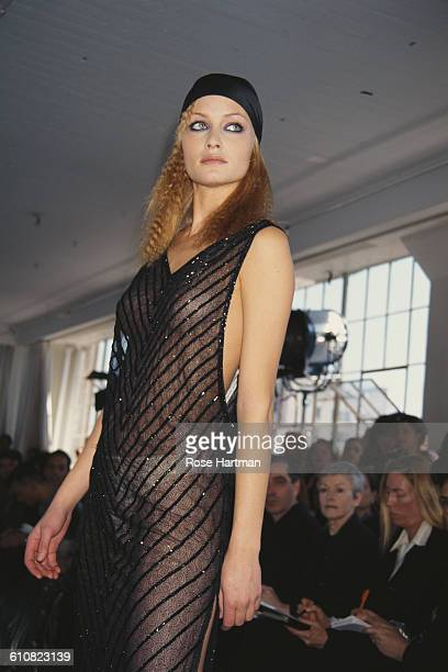 American fashion model Amber Valletta at the Victor Alfaro Fall 1996 fashion show New York City 1996