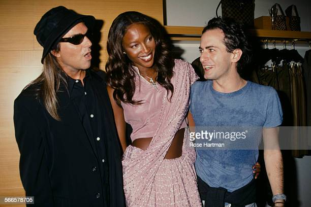 American fashion photographer Steven Meisel English model Naomi Campbell and American fashion designer Marc Jacobs at the Louis Vuitton store opening...
