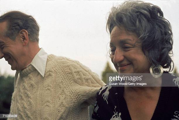 American feminist author and social activist Betty Friedan and companion cultural theorist author and editor David Manning White at Drew Lane...