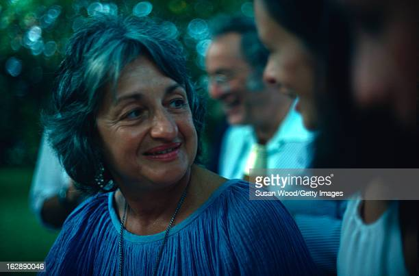 American feminist author and social activist Betty Friedan at an outdoor party in the Hamptons New York 1974