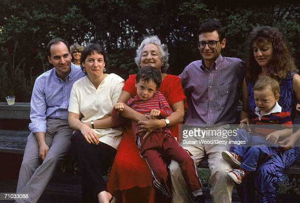 American feminist author and social activist Betty Friedan with some of her family Eli Farhi Emily Friedan Betty grandson Rafael Friedan Jonathan...