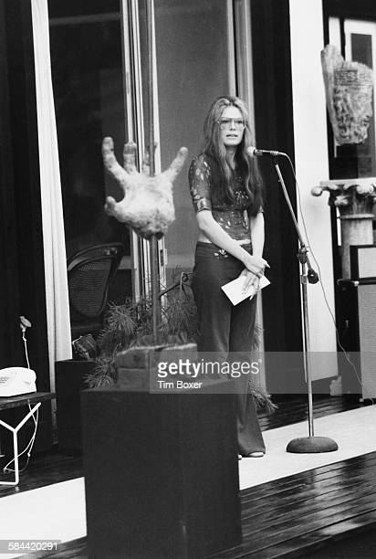 American feminist journalist and political activist Gloria Steinem speaking at a Women's Liberation meeting at the home of Ethel and Robert Scull...