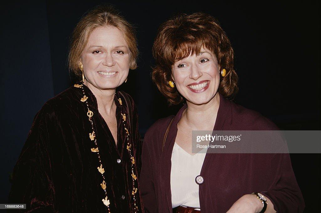 American feminist journalist Gloria Steinem and comedian Joy Behar (right), circa 1995.