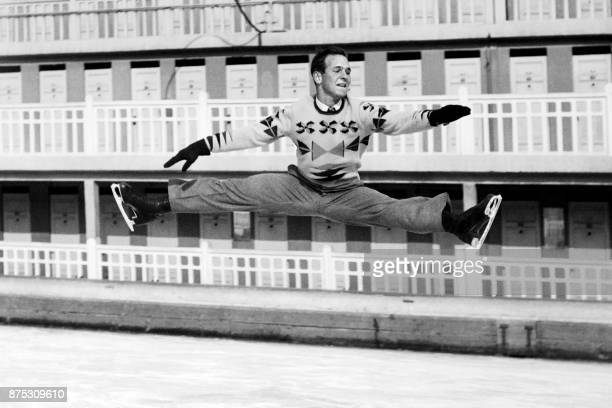 American figure skater Dick Button practices his jumps in February 1948 in SaintMoritz during the Winter Olympic Games Button won the gold medal and...