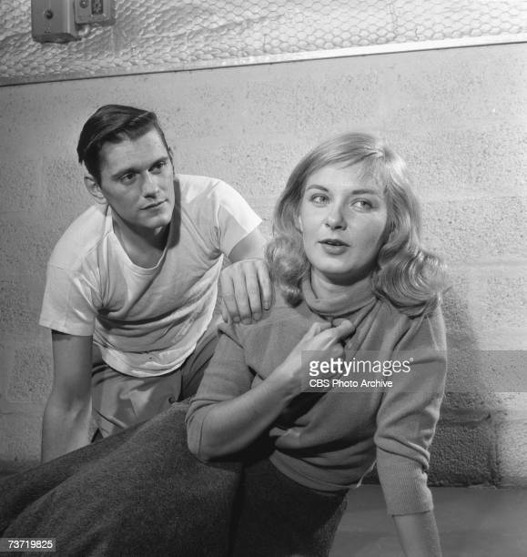 American film actress Joanne Woodward and American television actor Dick York appear during a rehearsal of the episode 'A Man's World' of the CBS...